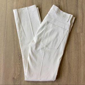 NWOT Helmut Lang Creased Canvas Skinny Jeans Ivory